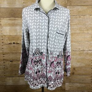 Body Touch Pajama Button Up Shirt size L